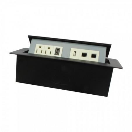 Panel de conectores para escritorio Panel con conectores para escritorio Caja para escritorio 2AC / 1HDMI / 1USB / 2RJ45 Cat6