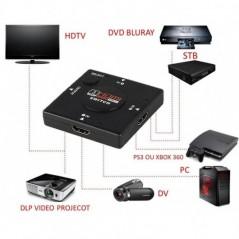 Switcher Hdmi 1080p 3 Entradas 1 Salida Selector HDMI Selector HDMI  Switcher Hdmi 1080p De 3 Entradas Y 1 Salida
