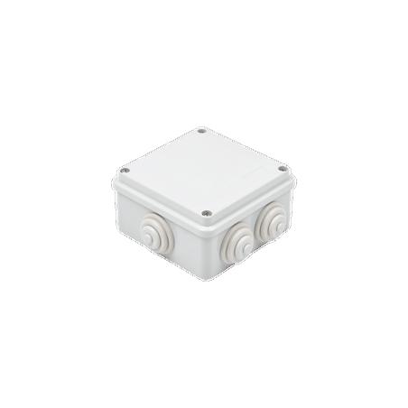 Caja de derivación de PVC Auto-extinguible con 6 entradas, tapa atornillada, 100x100x50 MM Caja para Exterior Caja de PVC