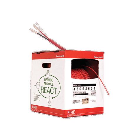 Bobina de 305 metros de alambre calibre 14 AWG en 2 hilos, caja REACT , resistente al fuego, color rojo, tipo FPLR- CL2R