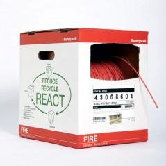Bobina de 305 metros de alambre calibre 18 AWG en 2 hilos, caja REACT, resistente al fuego, color rojo, tipo FPLP- CL2P 2X18awg
