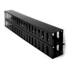 Organizador Vertical de 24ur Metálico Organizador vertical de cable doble para rack abierto de 24 unidades