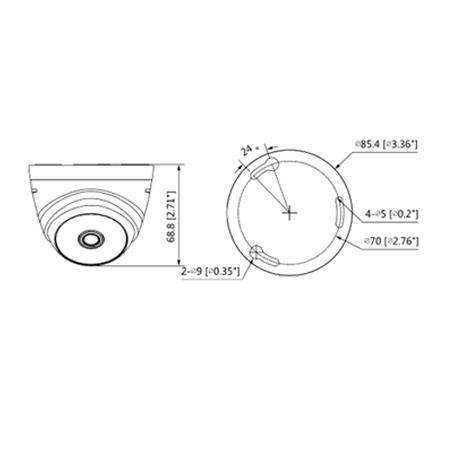 Camara Domo 1080p Lente 2.8 mm 103 Grados de Apertura ir 20 Mts Uso Interior