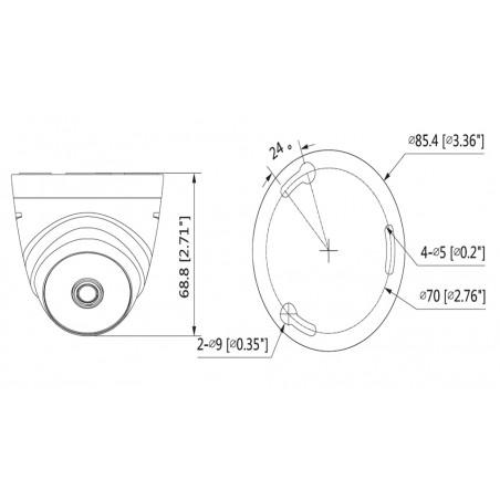 Camara Domo HDCVI 720p 93 Grados de Apertura Lente de 2.8mm IR 20 Mts Uso Interior Camada Dahua