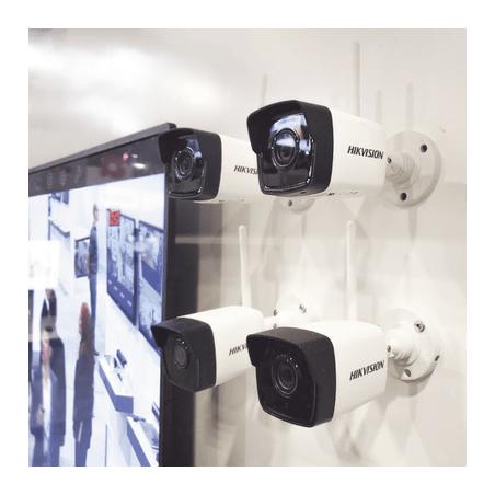 Kit IP Inalámbrico 1080p / NVR 4 Canales / 4 Cámaras Bala para Exterior / 1 HDD de 1 TB / Modo Repetidor Kit de 4 Camaras Wifi