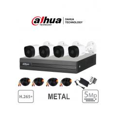 Kit 4 Canales 5 Megapixeles 4 Camaras Metálicas de 5 Megapixeles DVR de 4 Canales 5mpx  IR 20 Mts IP67