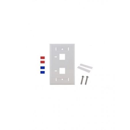 Placa de pared de 2 puertos, Keystone, con espacio para etiqueta, Color Blanco Faceplate Blanco Placa de pared para Jack