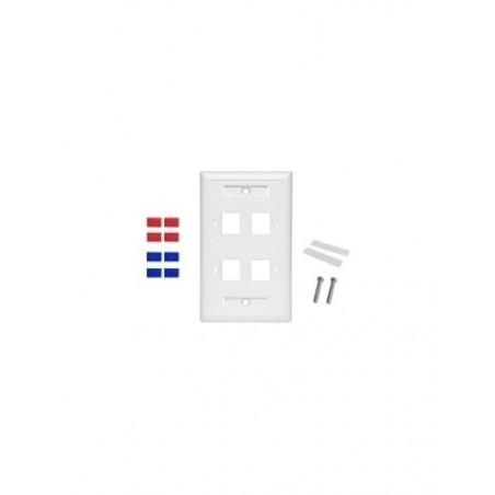 Placa de pared de 4 puertos, Keystone, con espacio para etiqueta, Color Blanco Faceplate de 4 puertos Placa de pared 4 salidas