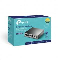 Switch PoE no Administrable de escritorio 5 puertos 10/100 Mbps, 4 puertos PoE, 58 W