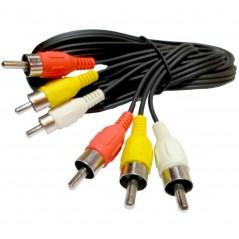 Cable Rca Ext Macho A Macho Audio Y Video 10 Metros Hd Cable de RCA 10 Metros Cable de Video Rojo Amarillo Blanco