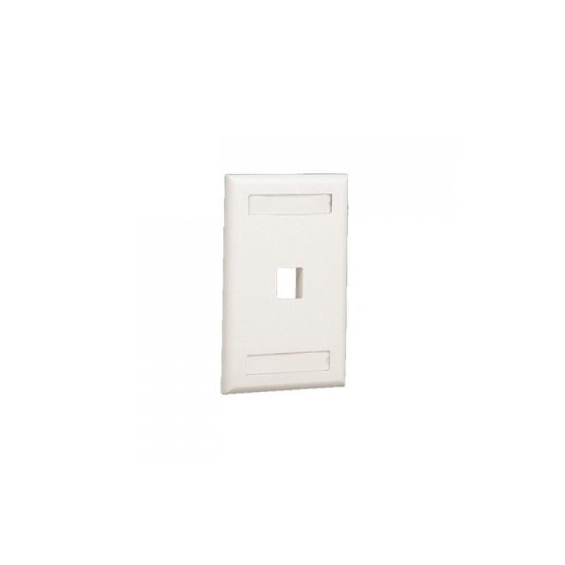 Placa de Pared Vertical, Salida Para 1 Puerto Keystone, Con Espacios Para Etiquetas, Color Blanco